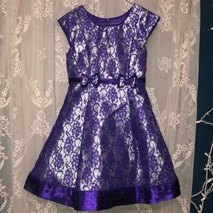 Girls beautiful purple / silver sparkle dress 8